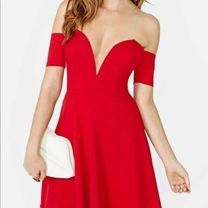 Nasty Gal Solemio Red Skater Dress Deep V